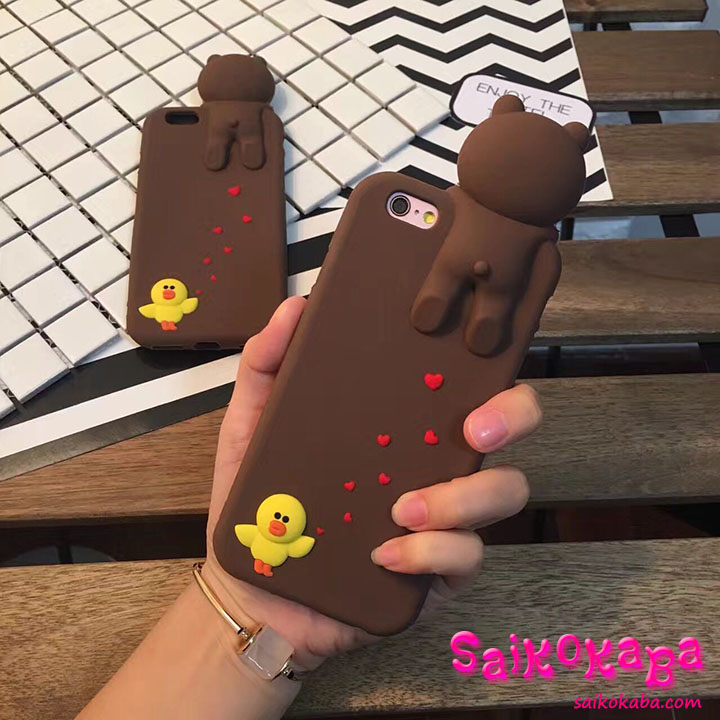 iphone6s plus ケース line Friends くまちゃんん 萌え萌え